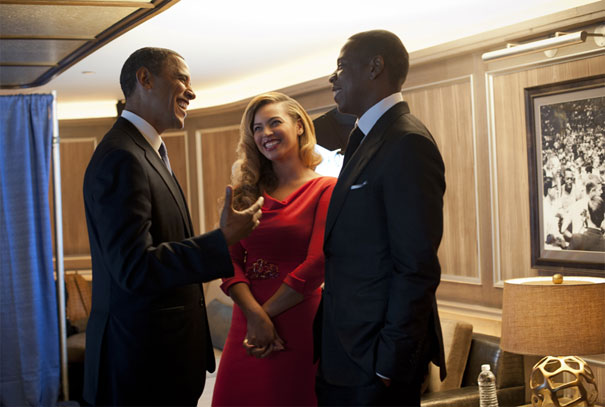 Barack Obama tillsammans med Beyoncé & Jay-Z i natt. FOTO: @barackobama