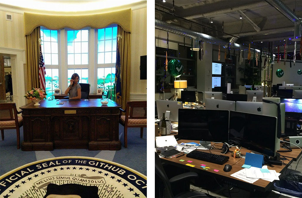 Left: Playing president in GitHub's oval office replica reception Right: At Dropbox you get balloons on your desk if you're a new employee