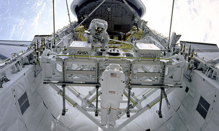 Assembling Structures in the Payload Bay - by NASA